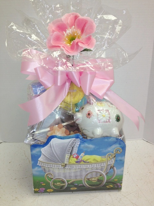 baby girl basket wrapped