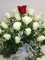 20 white roses & 1 white rose