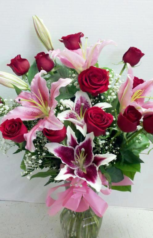 Dozen Red roses Stargazer Lilies