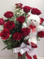 bear and roses