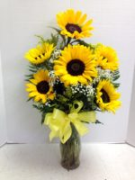 sun flowers with bow
