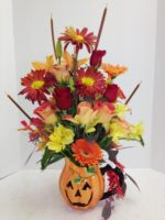 halloween flowers with candy and ghost
