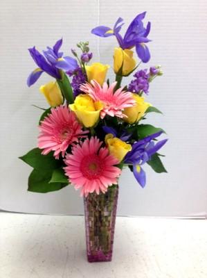 "<img src=""image.gif"" alt=""Flowers with Iris"" />"