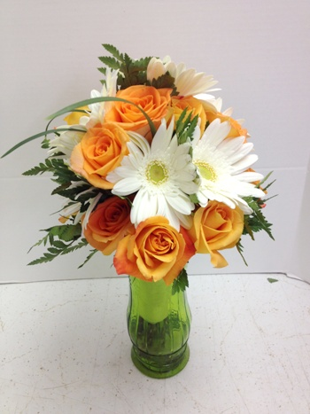 orange white bride