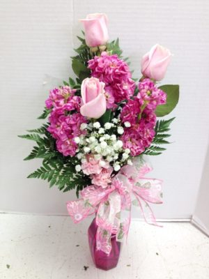 pinks roses and stock