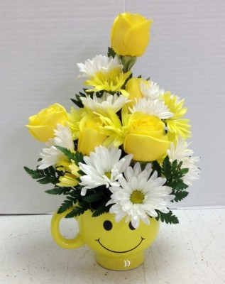 smiley with roses