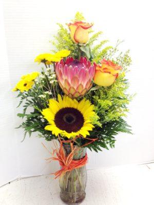 Happy Hawaiian mix Protea and sunflower