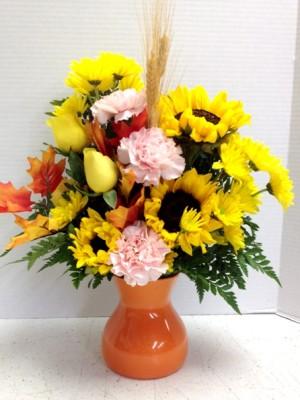 fall in pumpkin vase