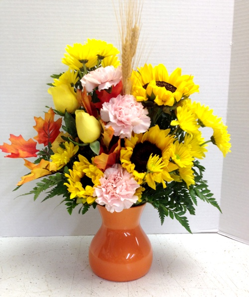 fall in pumpkin vase