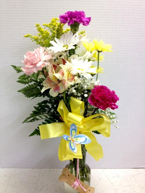 milk bone flower arrangement