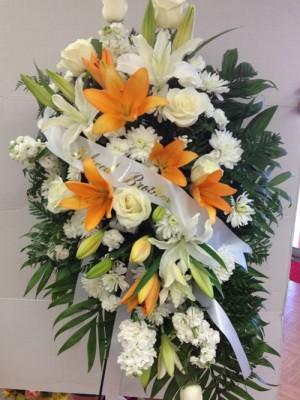 white spray with orange lilies