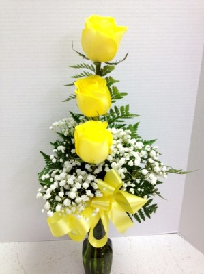 3 giant hybrid yellow roses for millie