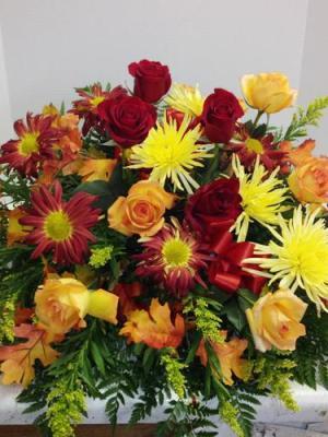 Fall flower casket cover
