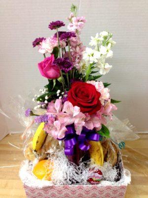 millie fruit and flower gift basket