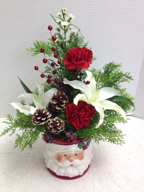 santa mug flower display