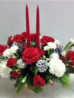 Christmas Carnations Centerpiece