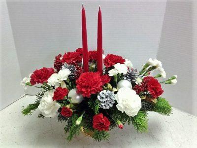 Christmas Carnations Centerpiece