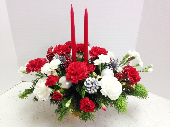 red white carnations centerpiece xmas