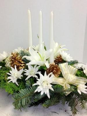 white flower and greens centerpiece