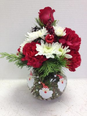 santa bubble bowl with red and white flowers