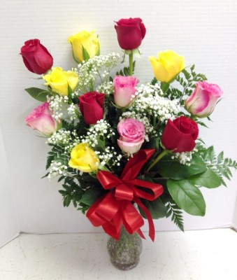 red yellow pink roses