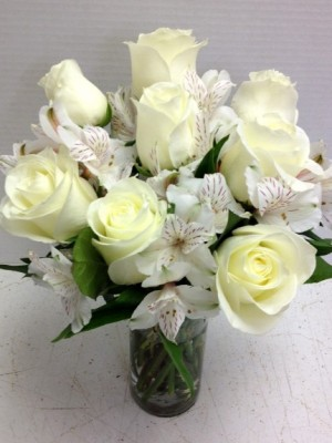 all white roses and alstro
