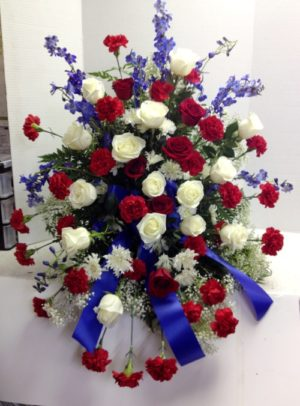 red white blue funeral spray