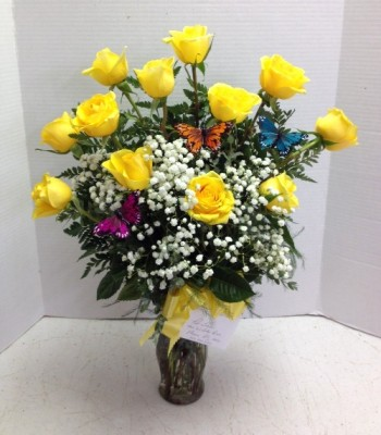 Yellow Roses with Butterflies