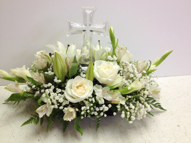 White With Cross Funeral Arrangement