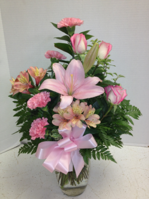Think Pink Lilies and Roses