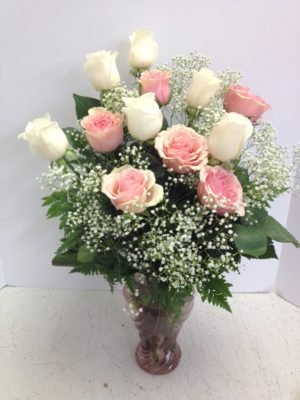 Think Pink and White Roses
