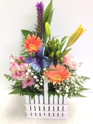 PES Favorite flowers in a tisket basket