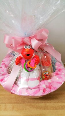 Baby girl gift basket wrapped