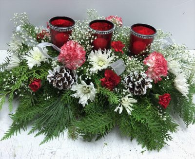 3 votives Christmas Centerpiece