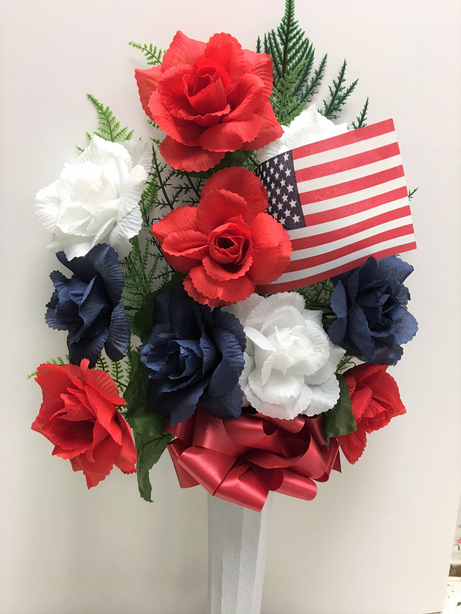 Silk flowers florist phoenix flower delivery phoenix az patriotic graveside cone mightylinksfo
