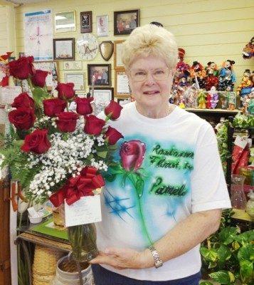 Pamela holding roses