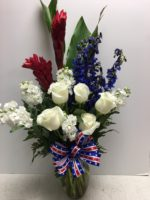 Patriotic flowers for Senator McCain