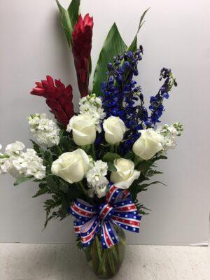 Patriotic flowers for Senator McCain